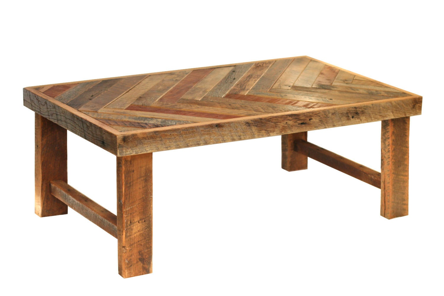 Herringbone Coffee Table Wood Legs Reclaimed Wood Coffee