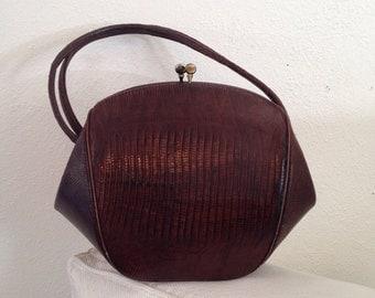 Brown Lizard Skin Handbag -  Fortune Cookie!