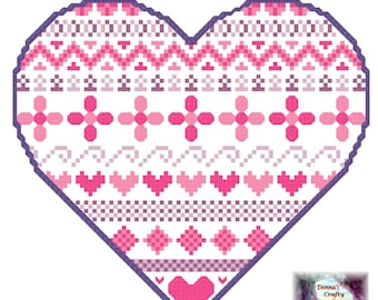 Heart with patterns (7)  cross stitch pattern pink purple cute pdf instant download printable