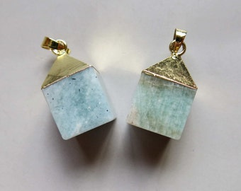 Amazonite Cube Pendant with Golden Edge - B1553