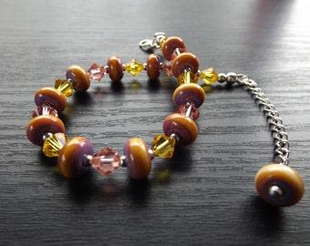 Lampwork Bead and Swarovski Bracelet