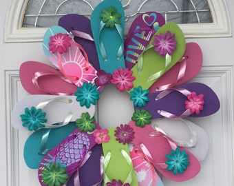 Flip Flop Wreath Beach Pool Patio Lake Wall Decor/Love Pineapple/Spring Summer Wreath