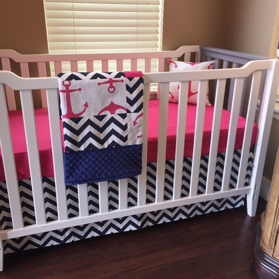 Nautical crib bedding navy hot pink anchor crib bedding girl crib