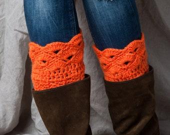 Boot cuffs orange Halloween/ crochet leg warmers/ boot toppers/tall boot socks women teen girls gift