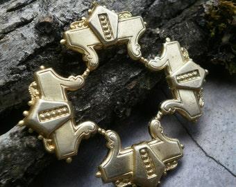 Raw Brass Stamping Art Nouveau Focal Piece Round