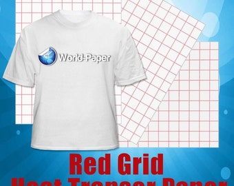 "RED GRID Inkjet Heat Transfer Paper Iron On - Red Grid - 5 Sheets - 8.5"" x 11"""