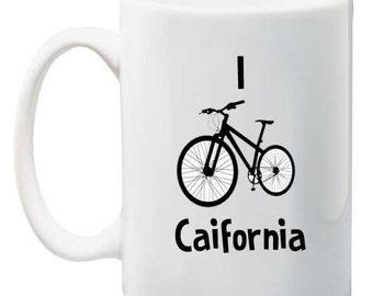 I Bike California Tea, Coffee Mug 11 ounce oz