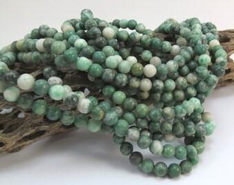 "Ching Hai ""Jade"" Beads, Natural 6mm Green Beads, 16 inch Strand, 6mm Green Beads, Beading Supplies, Item 1013pm"