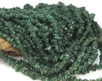 Aventurine Chips, Natural Dark Green Aventurine Chips, Medium to Large Pebbles, 36 Inch Strand, Item 503 gs