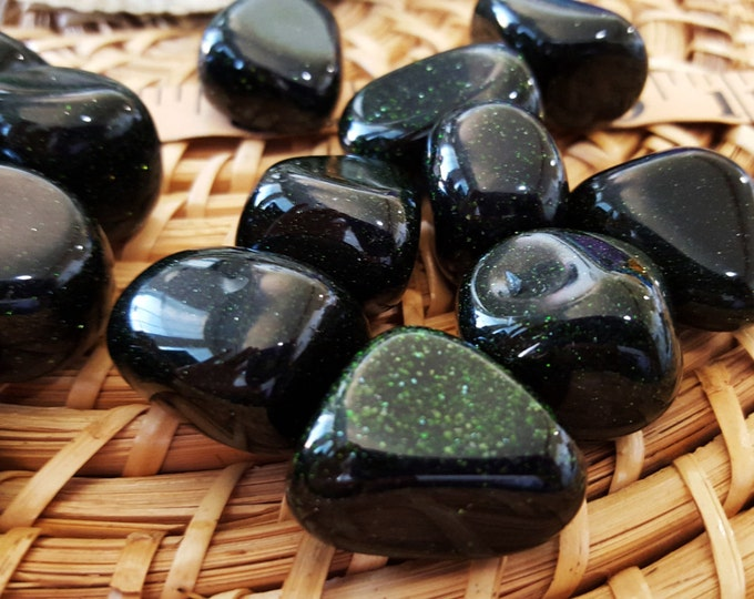 Green Goldstone ~ 1 medium Reiki infused tumbled stone