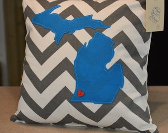 18 x 18 Michigan Pillow Cover Gray/white turquoise FREE SHIPPING!!!!!