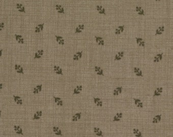 BROWN leaf flower on brown quilting fabric 13568-18