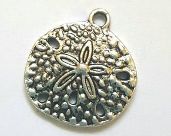 Four Silver Sand Dollar Charms - Tibetan Silver - nature - ocean - sea