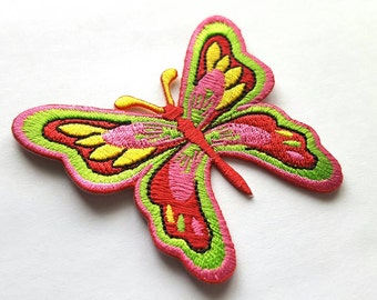 Pretty Pink Butterfly Embroidered Iron-on Patch - nature