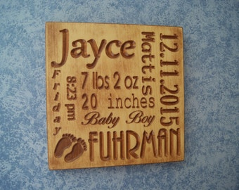 Baby birth sign etsy new baby gift birth information plaque full name personalized wooden stained sign length weight birth date negle Image collections