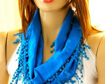 blue scarf  - Summer scarf - scarf  - Woman scarf - scarves  - blue scarves - summer scarves - blue lace scarves - blue headband - scarfs