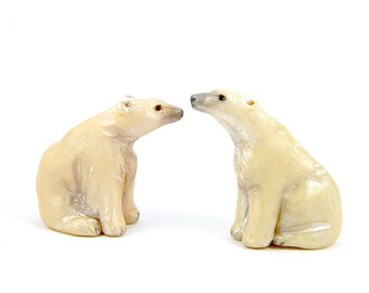 Glow in the Dark Polar Bear, Hand-Sculpted Figurine, Christmas Bear, Glow in the Dark Polymer Clay