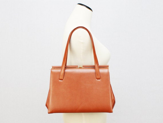Camel Brown Handbag - 60s Pocket Book Bag - Vintage 1960s Metal Frame Leather Purse