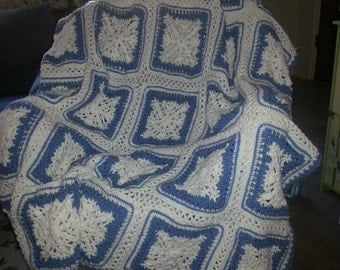 Snowflake Squares Afghan - Blue and White