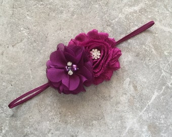 Plum headband, newborn headband, baby headband, baby girl headband, flower headband, shabby chic flower, plum flower headband,