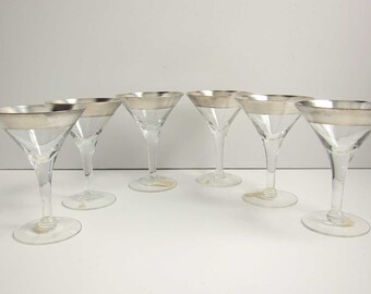 Mid Century Dorothy Thorpe Silver Band Cordial Liquor Crystal Glasses - Set of 6 Crystal Sterling Silver Stem Glasses