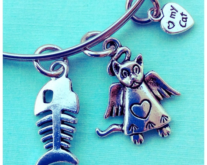 Rainbow bridge angel kitty memorial Bangle  bracelet