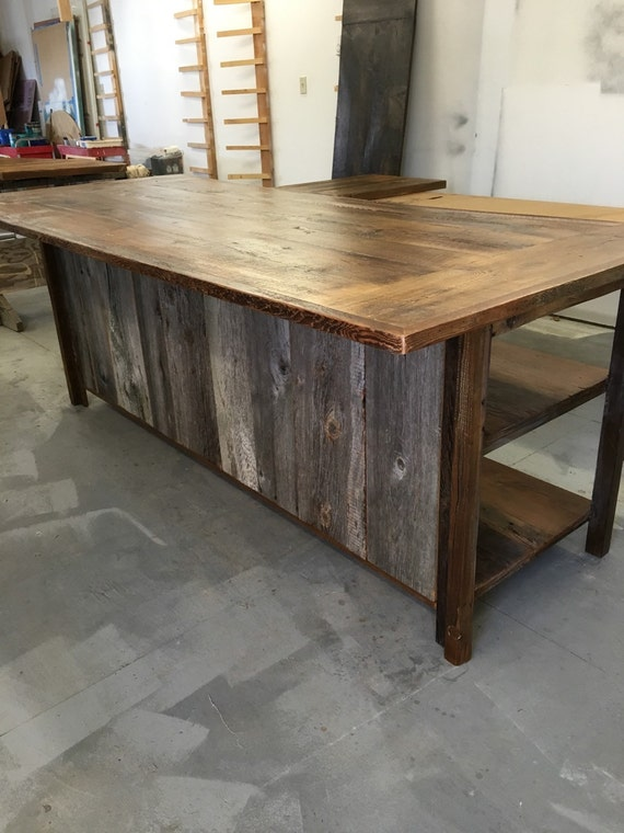 Kitchen island rustic wood,reclaimed wood shelves,barn siding