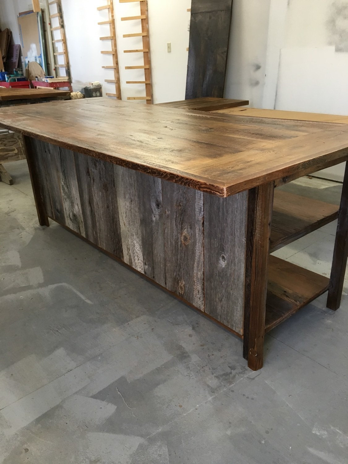 Kitchen island rustic woodreclaimed wood shelvesbarn siding for Recycled wood siding