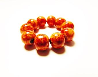 D-00916 - 10 Glass beads 8mm Orange