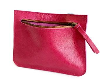 Pink leather zipper pouch , Pink small wallet women , Woman wallet