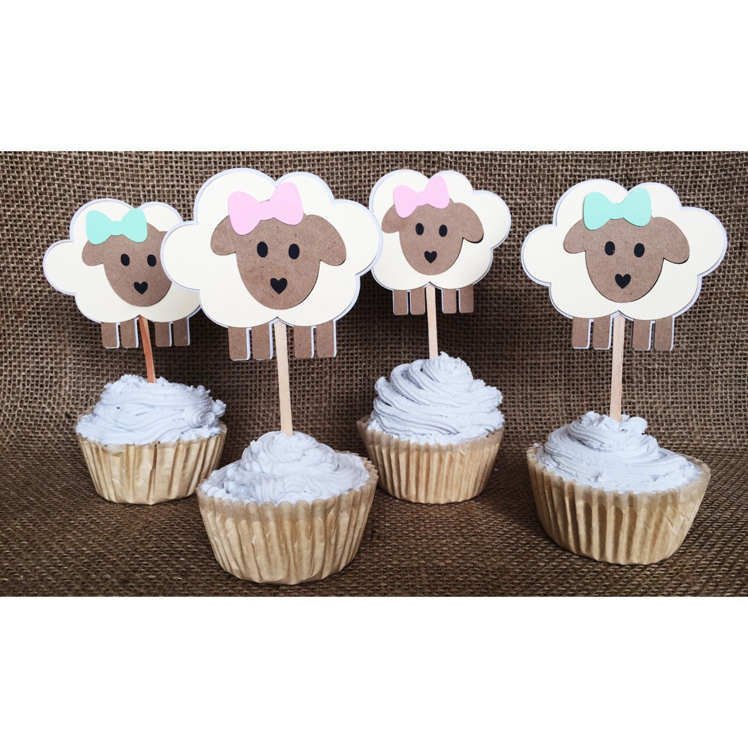 Lamb Cupcake Topper Little Lamb Baby Shower Lamb Baby Lamb