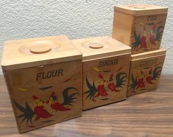 Vintage 4 canister Rooster set,  Sugar Flour Coffee Tea Canisters, Vintage wood Canisters