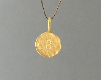 Gold or Silver Initial Letter Silk String NECKLACE or BRACELET