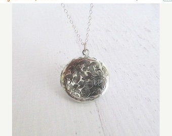 Silver Locket Necklace, Floral Locket Necklace
