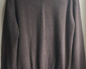 Heathered Brown 100% cashmere sweater made in Italy upcycled sz large by Three Whiskers Farm