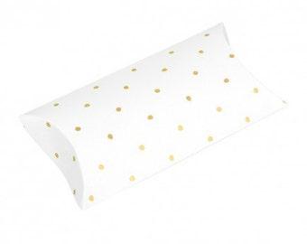 Metallic Gold Polka Dot Pillow Boxes - Set of 8 - party, celebration, wedding, event, birthday
