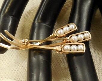 Vintage  14K Gold Filled Cultured Pearl Pin