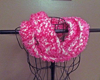 Infinity Scarf - Pink with White