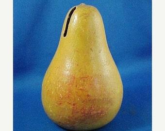 SALE Antique Redware Pottery Figural Pear Fruit Bank, Americana, Folk Art