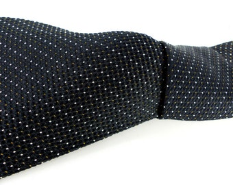 Classic and classy woven black silk necktie with micro dots in red & white by Daniel De Fasson Studio