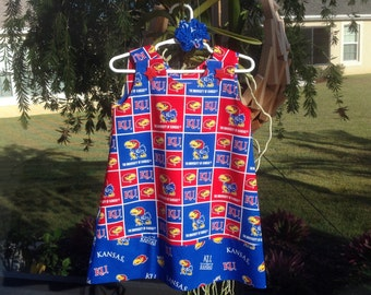 KU Jayhawks Dress w Band, University of Kansas, Red Blue, College, (infant, baby, girl, toddler,child) with matching hair accessory.