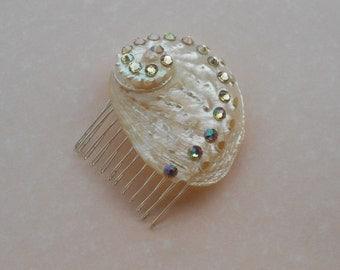 Shell & Rhinestone Hair Comb