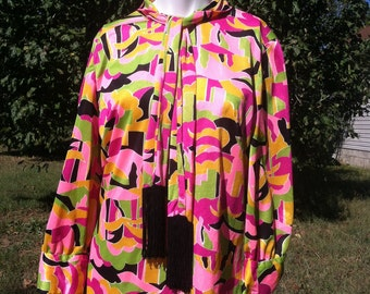 1960's vintage mini dress neon psychedelic/60's vintage groovy mini dress fringe tie/60's mini gogo scooter dress neon psychedelic