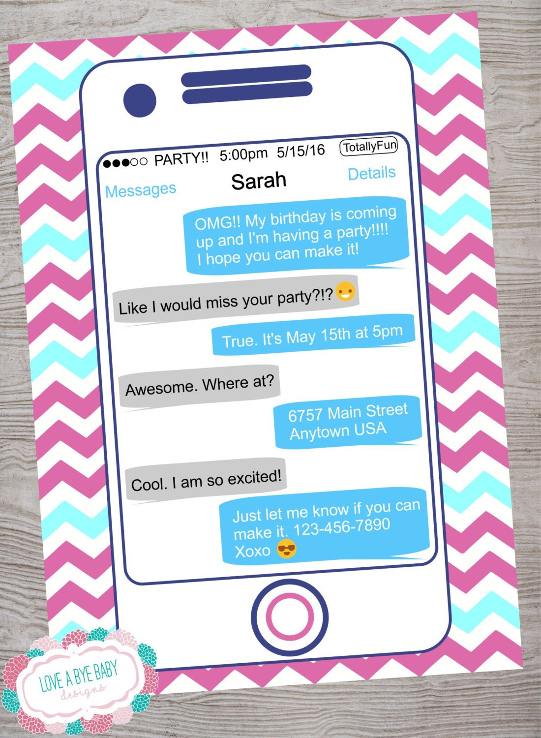 Smart phone cell phone emoji emoticon texting teen tween – Cell Phone Birthday Invitations