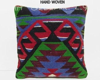 western throw pillow 20x20 decorative pillow cover crochet pillow cover kelim pillow cover handmade cushion cover blue kilim pillow B1229