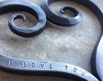 Iron Heart Trivet, 6th Anniversary, Iron Anniversary Gift, Ornament Wall Hanging, Personalized, Blacksmith Made