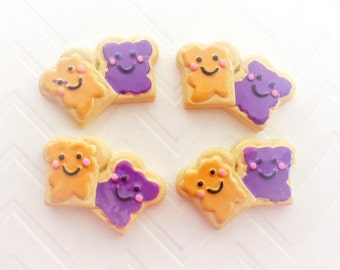 31mm  Peanut Butter & Jelly Toast  Cabochon 4 pcs