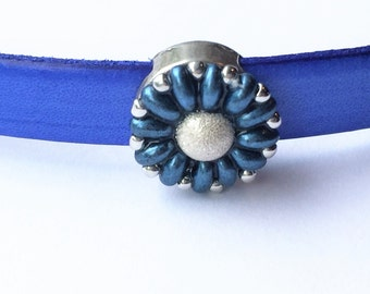 SALE: Handmade 10mm Flat Leather Flower Slider, Silver Stardust and Blue