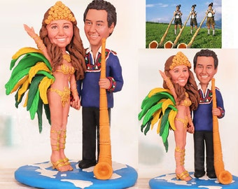 Couple in Traditional Dress of Brazil and Switzerland Cake Topper - Personalised wedding topper (Free shipping)