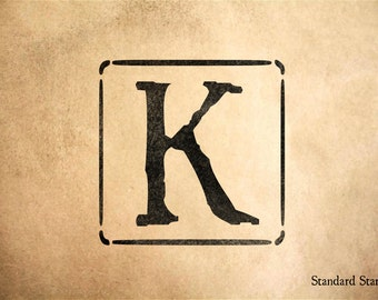 Letter K Block Rubber Stamp - 2 x 2 inches